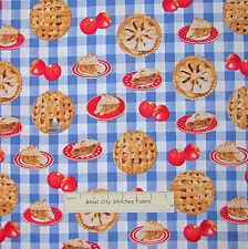 In the Mix Apple Pie on Blue Plaid Fabric ~ Cotton By The Yard ~ Windham