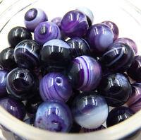 6mm 15pcs purple Stripe Agate Natural Gemstone Round Spacer Loose Beads