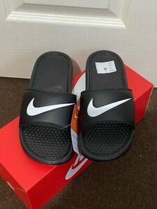 Men's Nike Benassi Swoosh Sliders Black White UK 6, 7, 8 BNEW