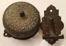 Antique Victorian Eastlake Design Bronze Mechanical Doorbell & Lever Pull c1878