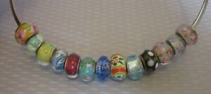 estate lot 13 ART GLASS 925 SLIDE BEAD CHARMS multicolor sterling silver