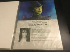 Wicked The Musical London Natalie Andreou A4 Standby/Played By Sheet/Card