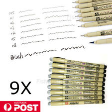 NEW 9PCS Black Sakura Pigma Micron Fine Line Pen BR Drawing Set Drawing Ink Pens