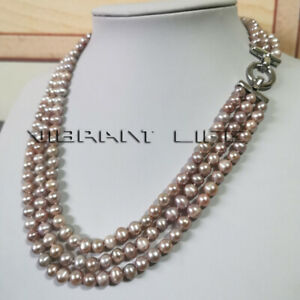 """20-22"""" 6-8mm Lavender 3row Freshwater Pearl Necklace Strand Necklace A U"""