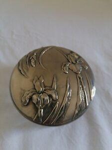 Glass Mirror Trinket Pot iris irises art nouveau mirrored lid silver pewter box