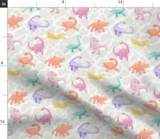 New listing Crystal Dino Park Candy Colors Dinosaurs Girl Spoonflower Fabric by the Yard