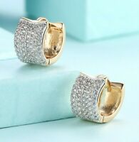 18K Gold 15mm Huggie Hoop Earrings Pave with Swarovski Crystals ITALIAN MADE