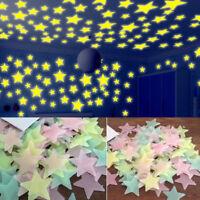 100pcs 3D Stars Glow In The Dark Luminous Fluorescent Wall Stickers Room Decor