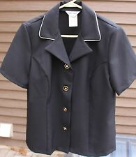 Women's Black Shirt with White Trim by Anthony Richards; Size: 14P