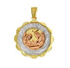 14K Tri-color Gold Religious Small Baptism Charm Pendant