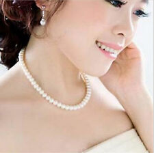 Women Lady New Chain Style Smooth South White Pearl  Round Sea Powder Necklace