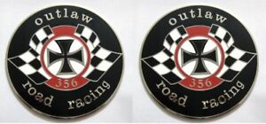 CAR BADGE-356 OUTLAW ROAD RACING CAR GRILL BADGE EMBLEM-SET OF 2PCS EMBLEM LOGOS
