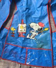 Vintage Snoopy Kids Painting Apron Craft 1965 Charlie Brown Peanuts Blue 1960s