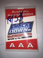 SMACKDOWN 2004 AUSTRALIA WWE HAND SIGNED RVD EVENT BACKSTAGE BADGE