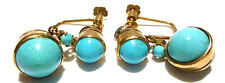 DECO OLD ANTIQUE FOREIGN 14K YELLOW GOLD PERSIAN TURQUOISE DANGLE EARRINGS