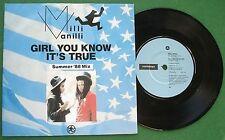 "Milli Vanilli Girl You Know it's True Summer '88 Mix 7"" Single"