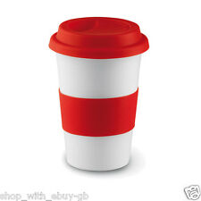 Ebuygb Insulated Takeaway Travel Mug With Silicone Lid Ceramic Red 400 Ml