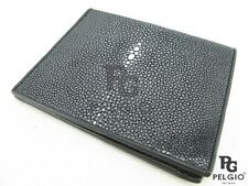 PELGIO Real Genuine Polished Stingray Skin Leather Men's Bifold Wallet Black New