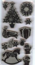 Rubber Cling Stamps OLD FASHION CHRISTMAS  TREE MITTENS WREATH POINSETTIA