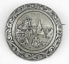 * c.1900 - VERY LARGE ANTIQUE DUTCH STERLING SILVER FIGURAL PIN/BROOCH