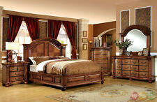 Bellagrand Luxurious Antique Tobacco Oak King Size Panel Bed 4 Piece Bedroom Set