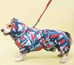 Dog Coat Jumpsuit Waterproof Pet Clothes Dogs Raincoat Pets Clothing Corgi Large