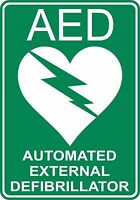 10 X  AED DEFIBRILLATOR STICKER SAFETY SIGNS BUSINESS PUB CAFE SCHOOL TAXI COACH