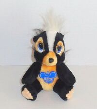 "Vintage Walt Disney Bambi Flower Plush Skunk Black White 7"" Korea Euc P77"