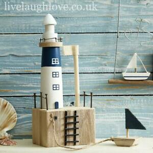 Natural Wooden Nautical Shelf Sitter With Boat - Lighthouse