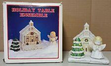 (I) Holiday Christmas Table Ensemble Church Napkin Holder Angel Tree Salt Pepper