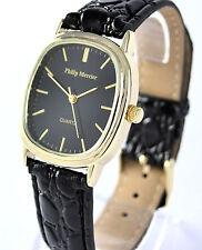 Philip Mercier Classic Gents or Ladies Large Quartz Watch Black Strap Black Dial