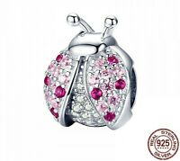 New 100% 925 Sterling Silver Pink Ladybug Beads Luxury Jewelry Making For Women