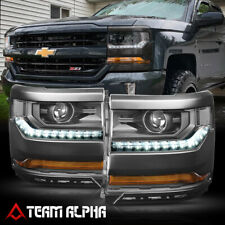 Fits 2015-2018 Silverado{LED DRL}Black/Clear Crystal Corner Projector Headlight