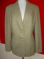 Louis Feraud Cashmere Wool Beige Army Blazer Jacket Style Military Womens sz 12