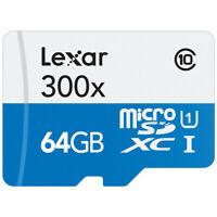 Lexar Scheda di Memoria MicroSDHC 300x, Classe 10, 64 GB, Bianco/Blu