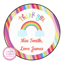 Personalised Thank You Teacher Stickers for Pupils Students Rainbow Well Done