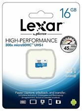 Lexar High Performance 16GB Class 10 UHS-I U1 300x Micro SDHC Memory Card.