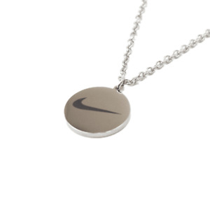 NIKE Style Swoosh Stainless Steel Chain Coin Pendant Necklace Silver | One Size