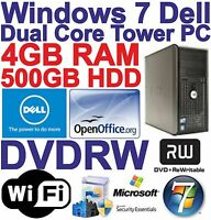 Windows 7 Dell Tower Dual Core 2x3.40GHz PC Computer - 500GB HDD - 4GB RAM Wi-Fi
