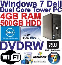 Windows 7 Tower Dell Dual Core 2x3.00GHz PC COMPUTER 500GB HDD 4GB RAM Wi-Fi **
