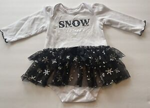SNOW ANGEL size 3 - 6  months white one-piece with Snowflake Sparkly Skirt