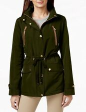 NWT MICHAEL KORS Faux Leather-Trim Anorak Hood Jacket Size S-Dark Loden~MSRP$180