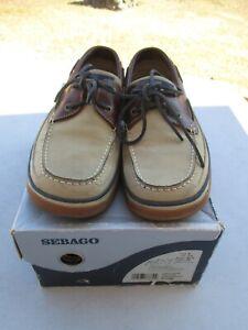 """Men's  """"Sebago San Juan Taupe Boat Shoes In Box""""  Size 8 / Very Good+"""