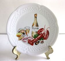 VTG. PORCELAINE LOURIOUX CANAPE PLATE-WINE & SEAFOODS DESIGN, FRANCE, 5 3/4 IN.