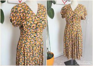 Vintage 80s Orange & Green Floral Print Angel Sleeve Long Midi Grunge Dress Size