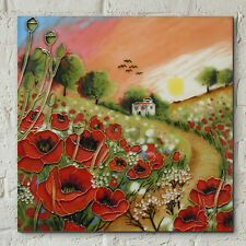 Poppy Sunset by Judith Yates 8x8 Decorative Ceramic Picture Art Tile Gift 05299