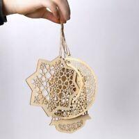 3pcs Islam Eid Ramadan Mubarak Hollow Decor Wooden Hanging Lantern Bauble UK~