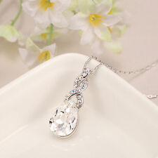 Fashion 18K White Gold GP Swarovski Elements Crystal Love Heart Pendant Necklace