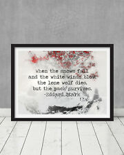 Game of Thrones Ned Stark When the snows fall Quote Weirwood Tree Wall Art Gift