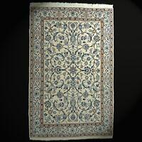 Feiner Naain Orient-Teppich mit Seide handgeknüpft Wolle 204x130 cm beige rar